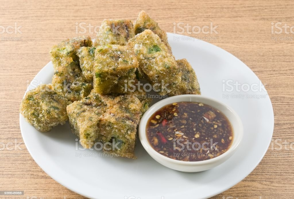 Fried Steamed Garlic Chives Dumpling Served with Soy Sauce stock photo
