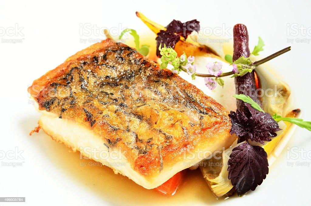 Fried striped bass stock photo