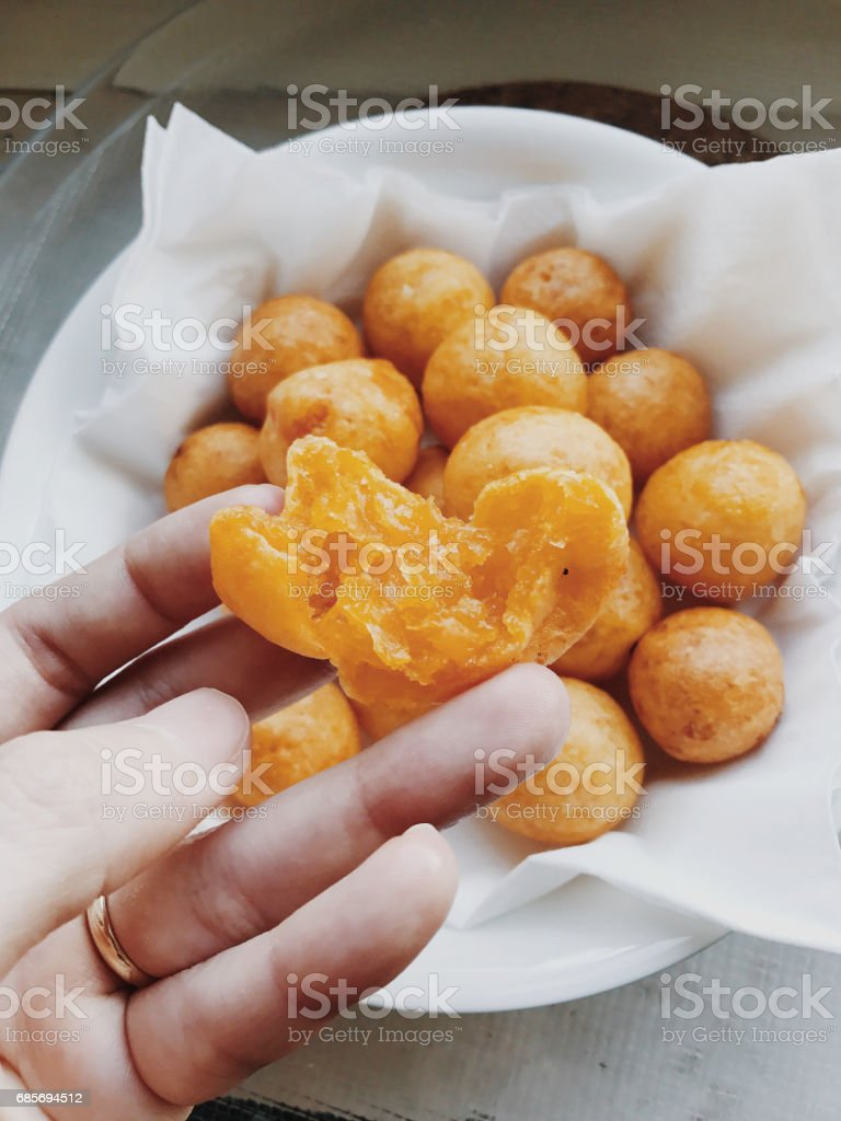 Fried sweet potato balls in Thai style royalty-free 스톡 사진