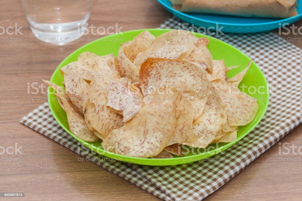 fried sweet taro crisps stock photo