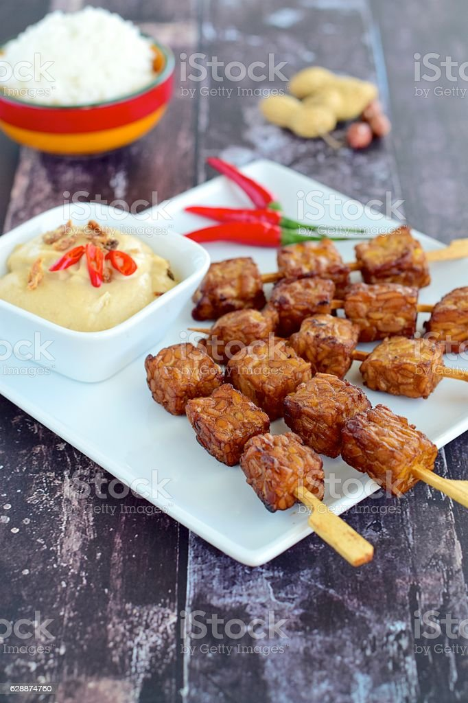 Fried Tempeh Fkewer stock photo