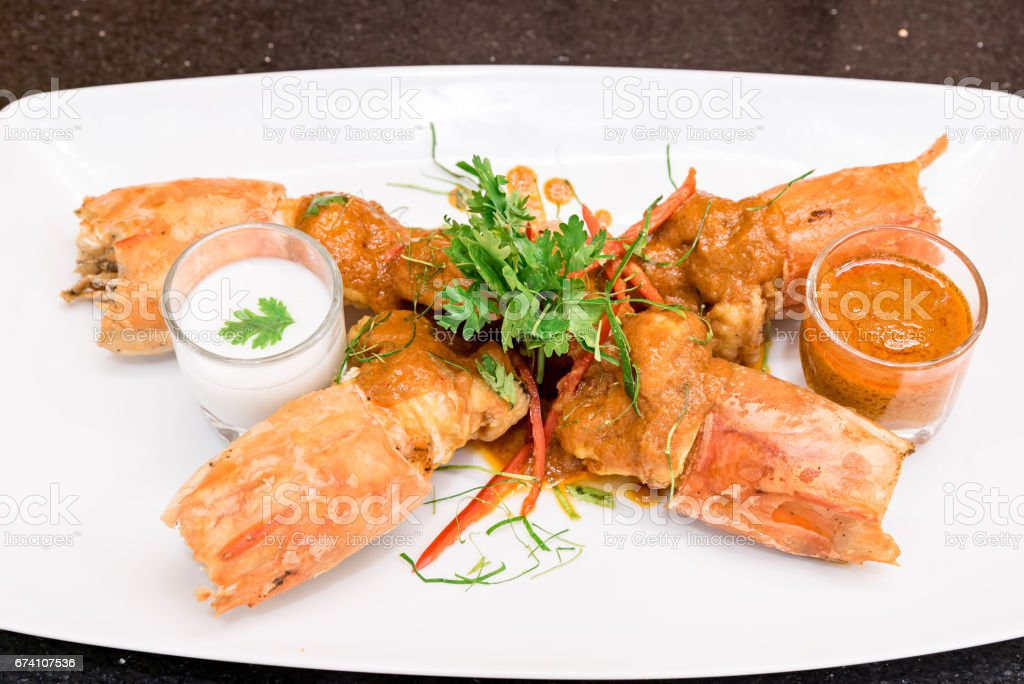 Fried Tiger River Prawn Red Curry Paste Chu Chee Kung royalty-free stock photo