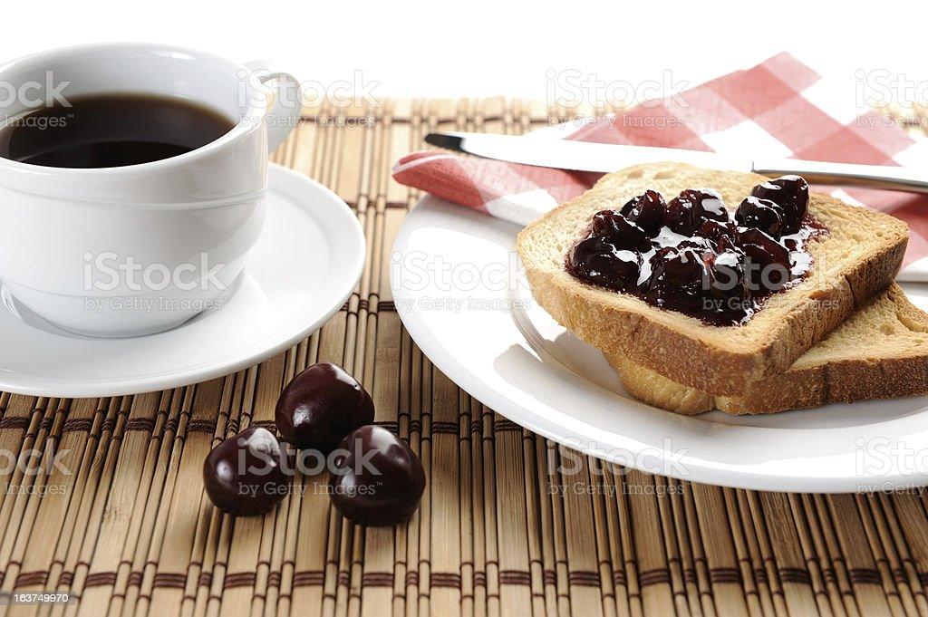 Fried toast bread with cherry jam stock photo