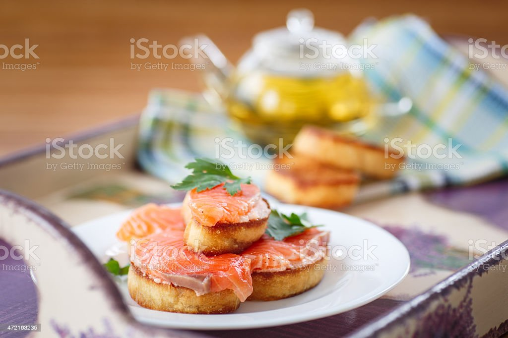 Fried toast with salted salmon royalty-free stock photo