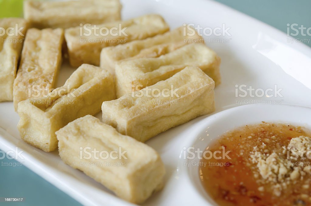 fried tofu on dish royalty-free stock photo