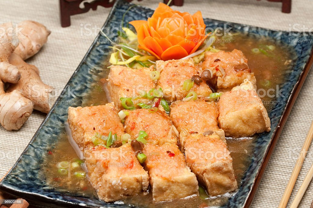 fried tofu with ginger sauce royalty-free stock photo