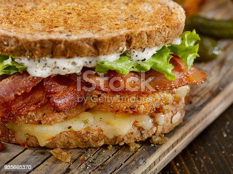 Fried Green Tomato, BLT Sandwich on Toasted Whole Grain Bread