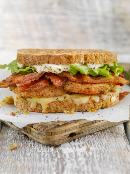 fried tomato, blt sandwich - club sandwich stock photos and pictures