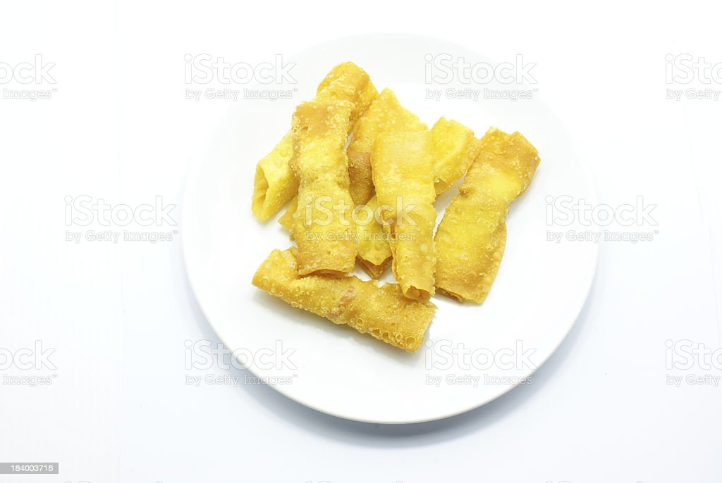 Fried Wonton on white dish royalty-free stock photo