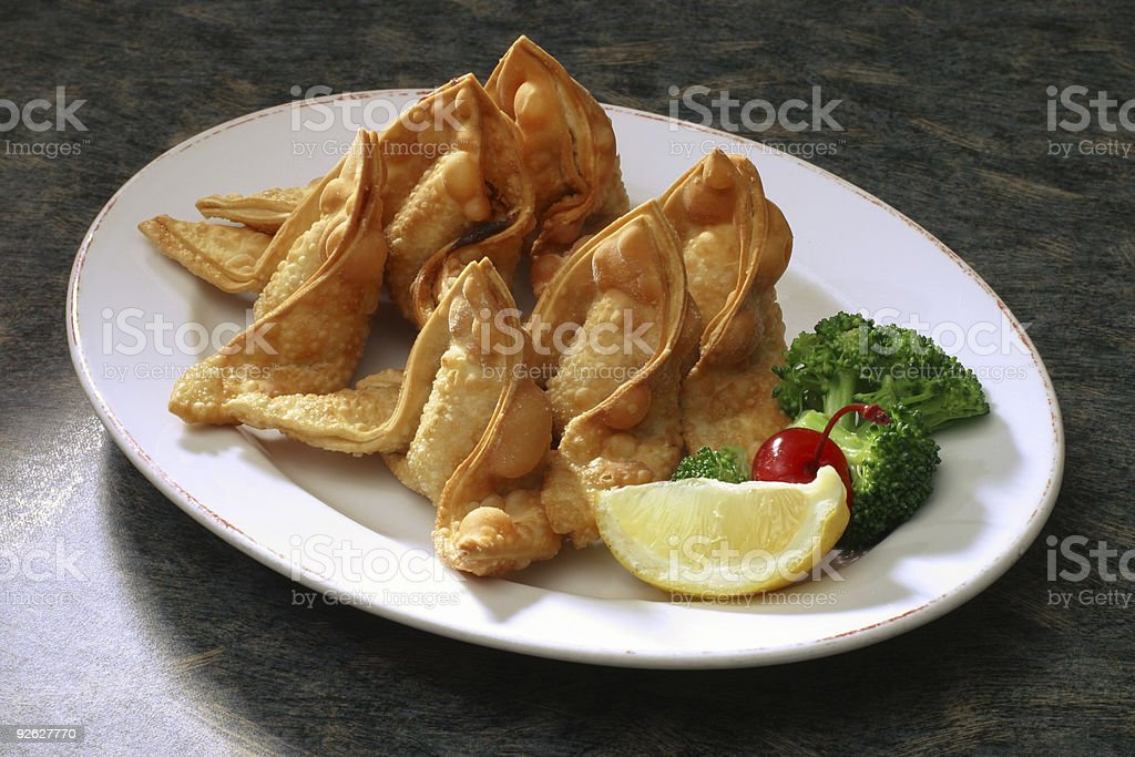 Fried Wontons/Crab Rangoons on plate stock photo