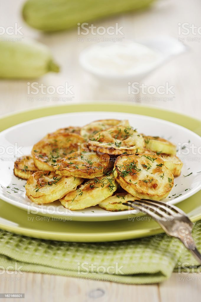 Fried zucchini stock photo