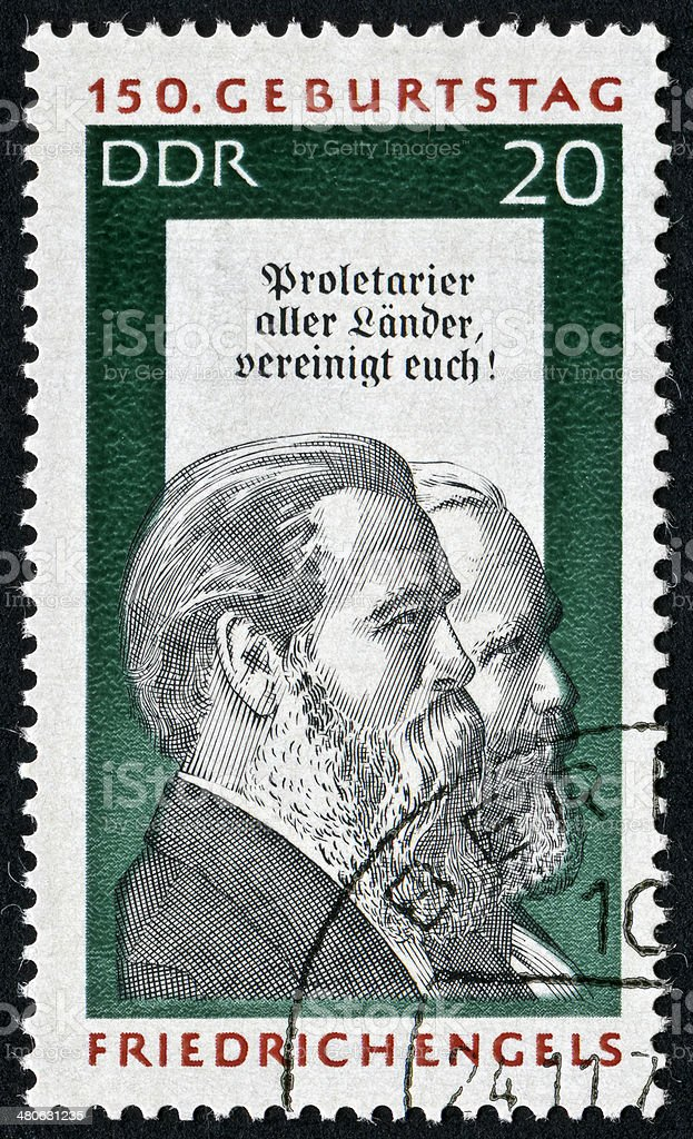 Friedrich Engels Stamp royalty-free stock photo