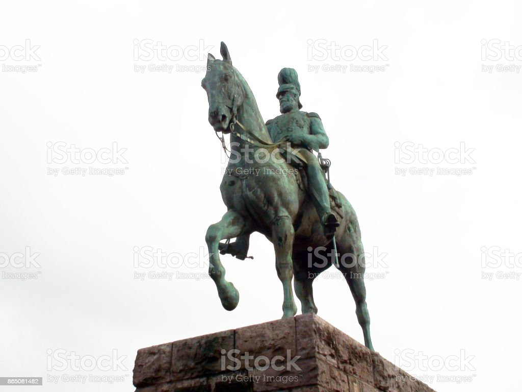 Friedrich III On Horse Statue Scene In Cologne Germany.Europe stock photo