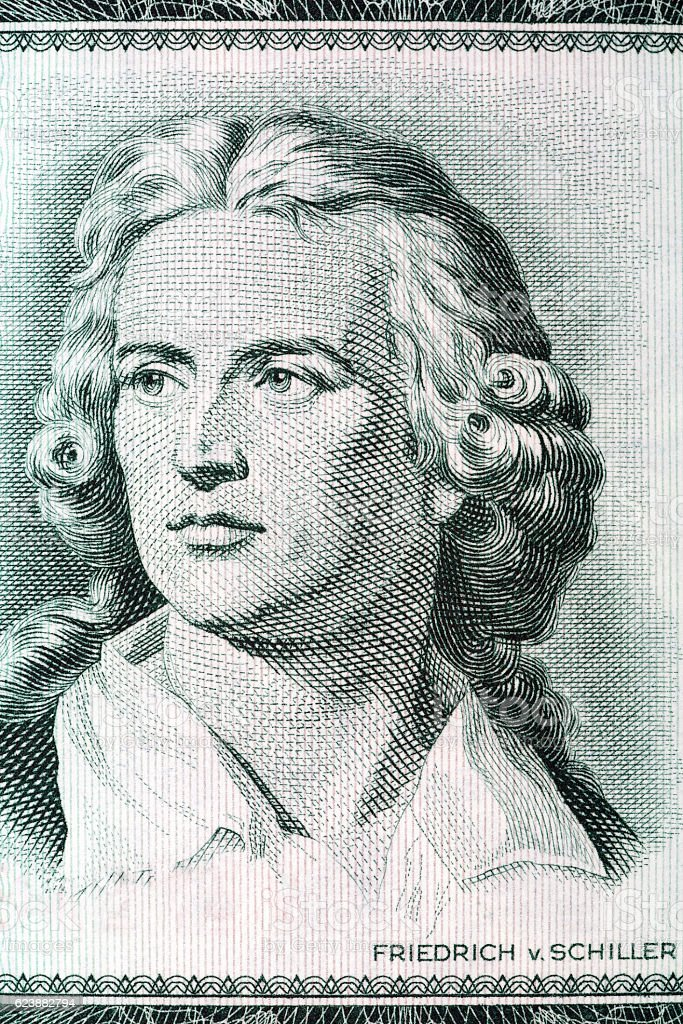 Friedrich Schiller portrait from old German money stock photo