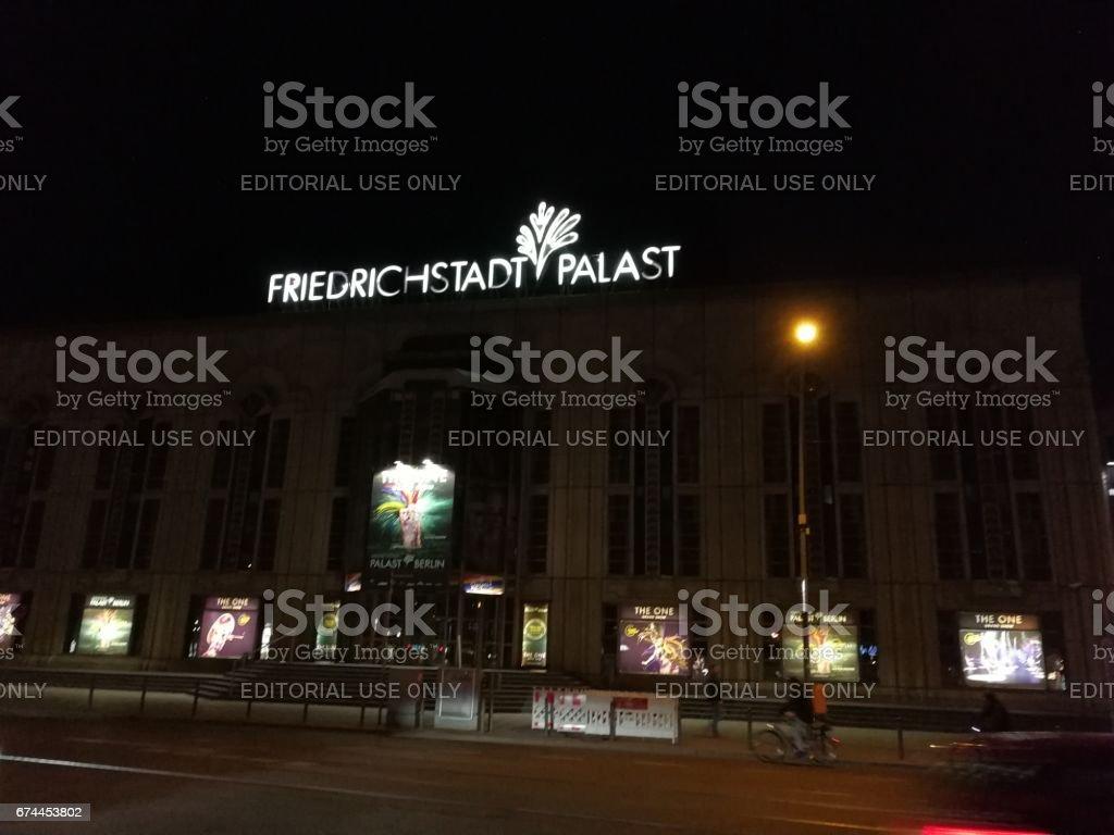 Berlin, Germany - April 10, 2017: Friedrichstadt Palast facade at night stock photo