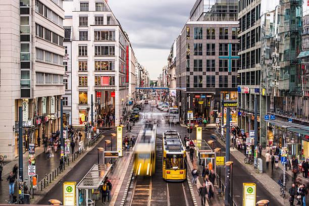 friedrichstrasse street in berlin - berlin mitte stock-fotos und bilder