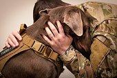 Soldier Hugs Dog