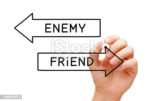 Hand drawing Enemy or Friend arrows concept with marker on transparent wipe board.