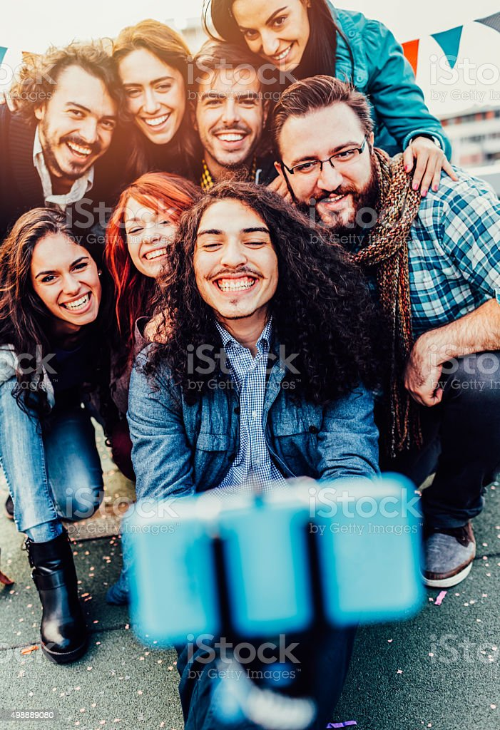 Friend Selfie On The Roof stock photo