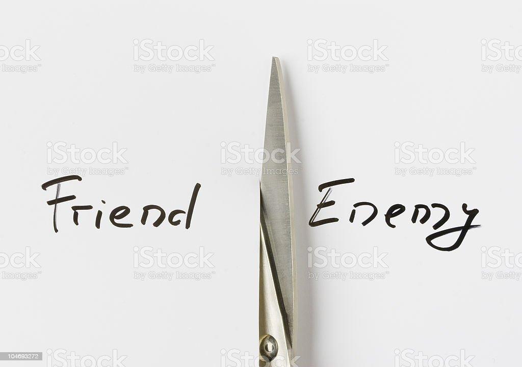 Friend/enemy stock photo