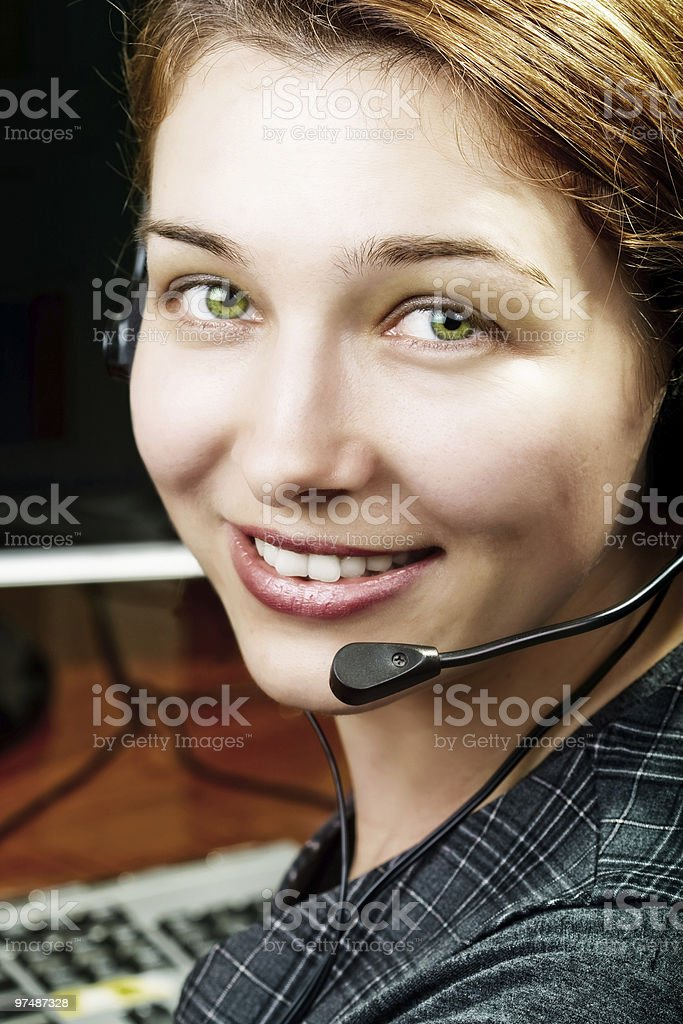 Friendly and happy service customer female worker royalty-free stock photo