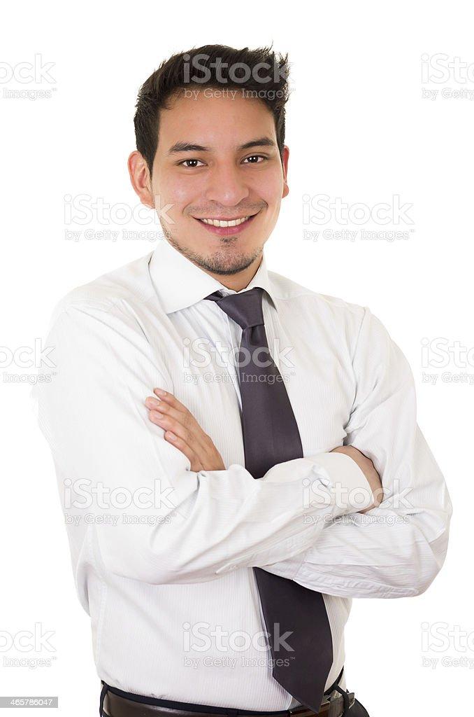 Friendly and smiling hispanic businessman stock photo