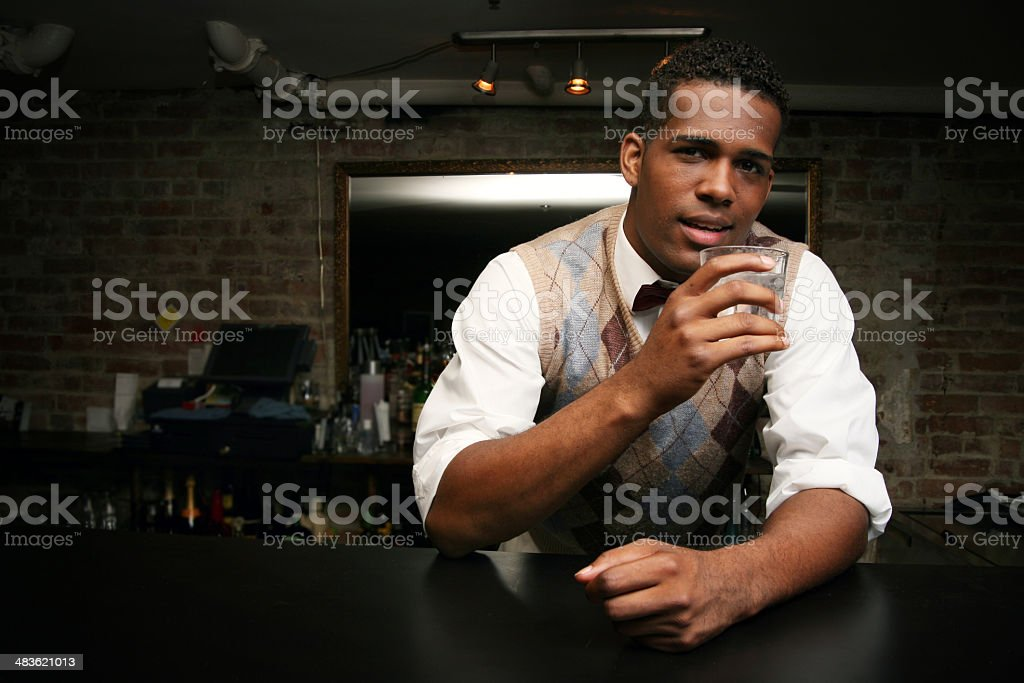 Friendly bartender royalty-free stock photo