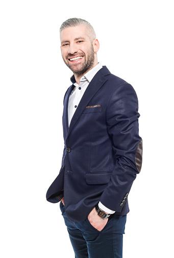 Friendly Bearded Grey Hair Elegant Businessman Stock Photo - Download Image Now