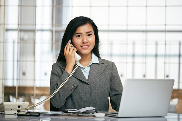 friendly businesswoman stock photo