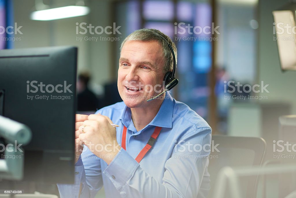 friendly call operative stock photo