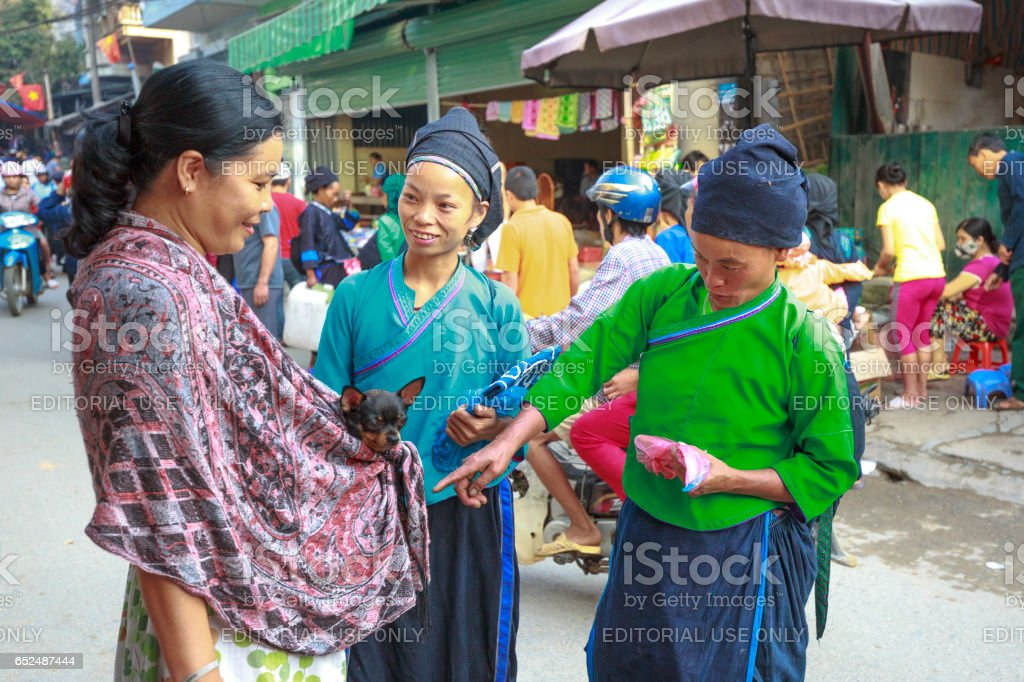 friendly conversation between a traveler and her pet chihuahua dog with ethnic minority people at the sunday village fair in Hoang Su Phi, Ha Giang, Vietnam stock photo