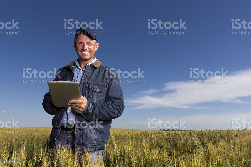 Este agricultor y el comprimido - foto de stock