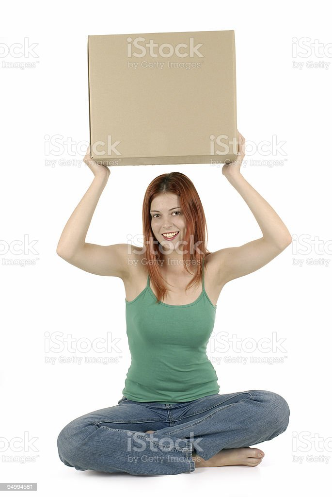 Friendly girl with cardboard box royalty-free stock photo