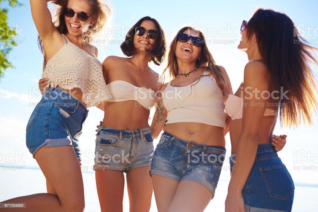 Friendly girls stock photo