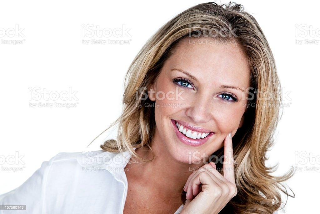 Friendly headshot of beautiful woman stock photo