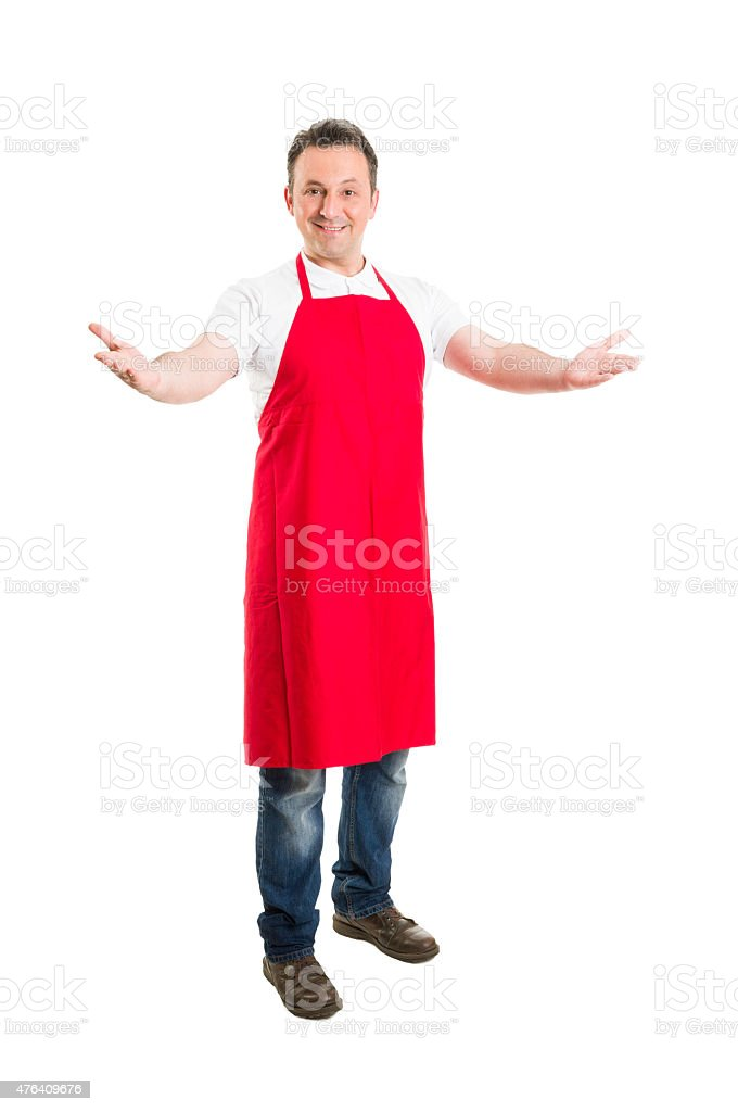 Friendly hypermarket employee with arms wide open stock photo