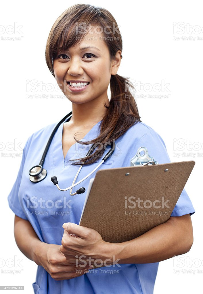 Friendly Medical Assistant Isolated on White royalty-free stock photo