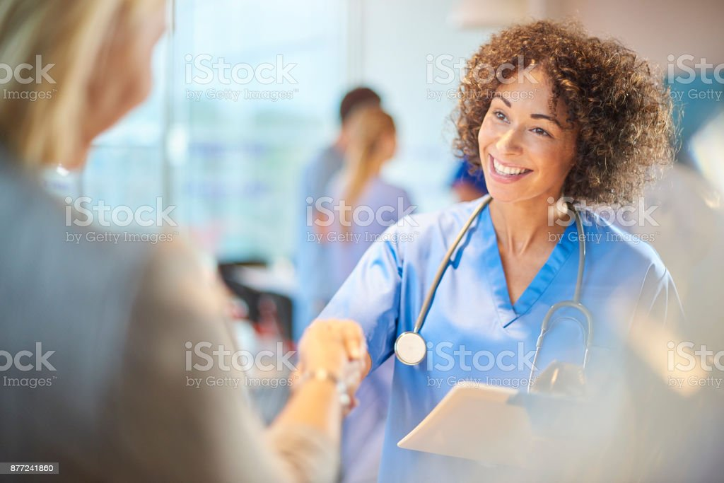 friendly medical welcome stock photo