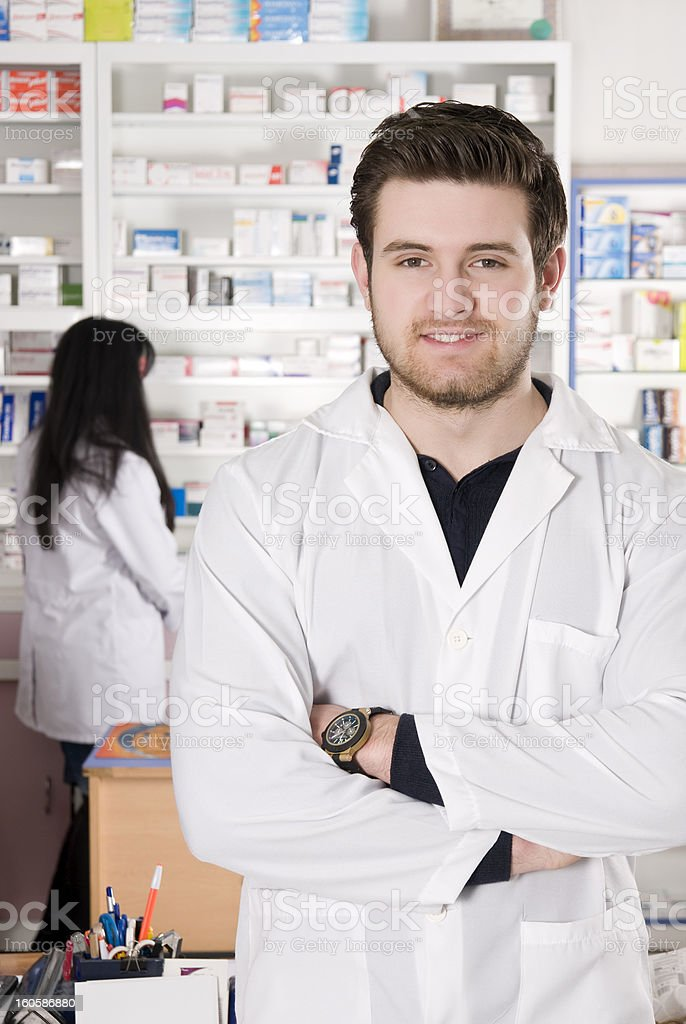 Friendly Pharmacists royalty-free stock photo