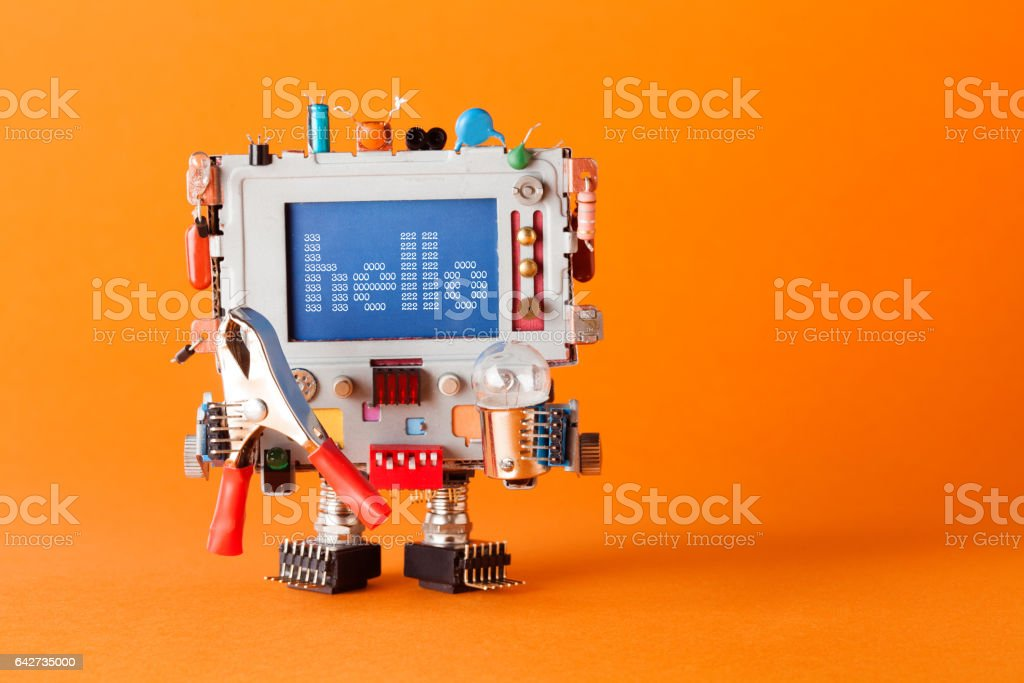 Friendly robot with funny monitor head. Colorful retro display character message hello on blue screen. Communication television concept. orange background copy space - foto stock
