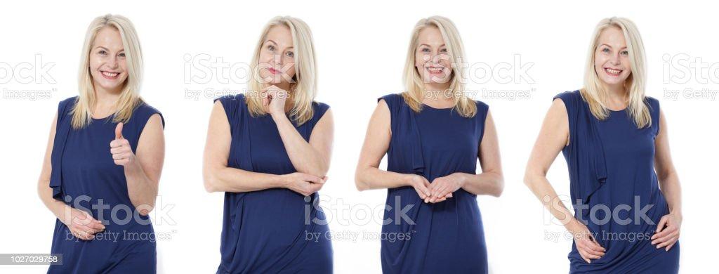 Photo Libre De Droit De Sympathique Souriant Moyenne Femme Agee En Robe Bleue Isole Banque D Images Et Plus D Images Libres De Droit De Adulte Istock