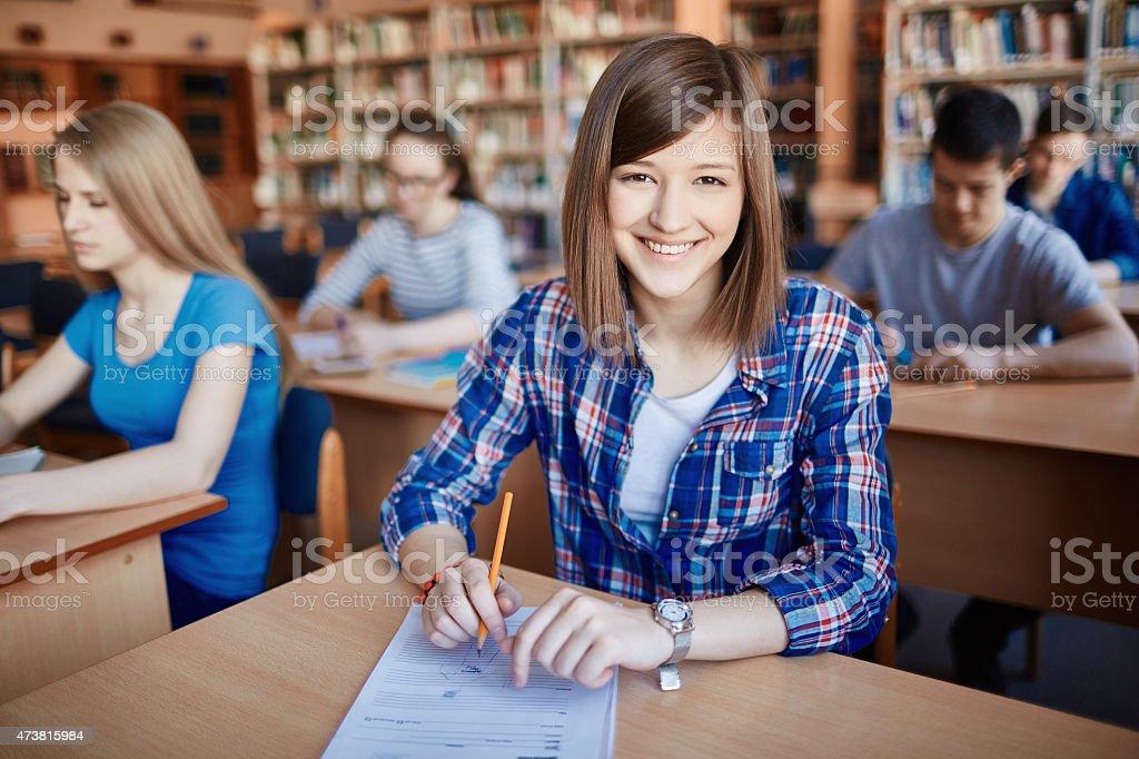 Friendly student stock photo