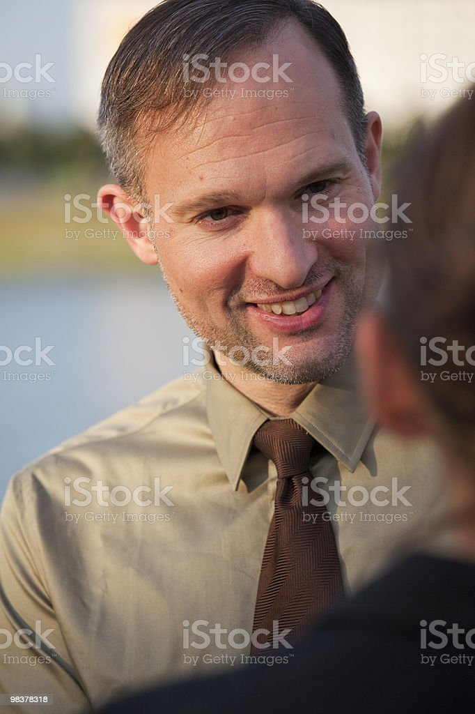 friendly talk on the street royalty-free stock photo