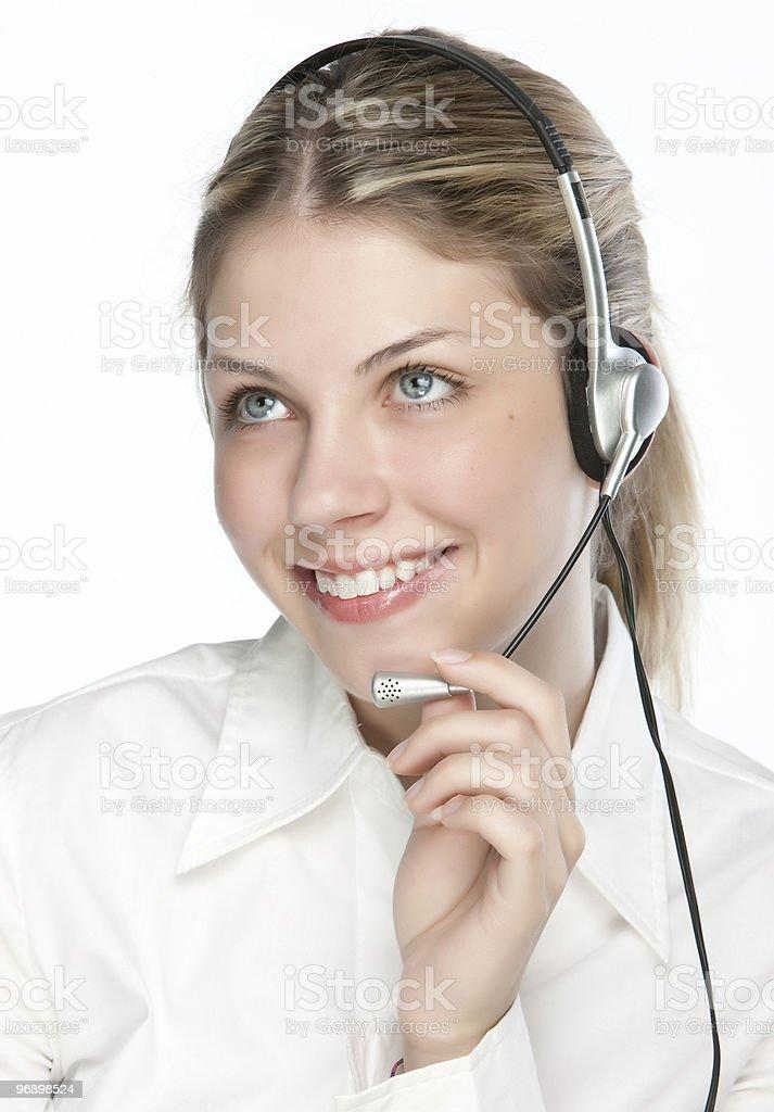 Friendly telephone operator royalty-free stock photo