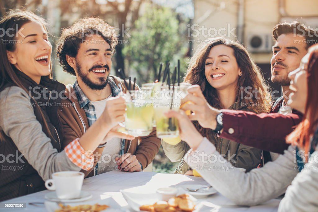 Friendly toast stock photo