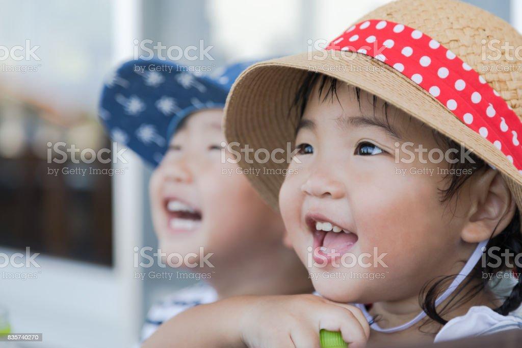 フレンドリーな双子の兄妹 ストックフォト