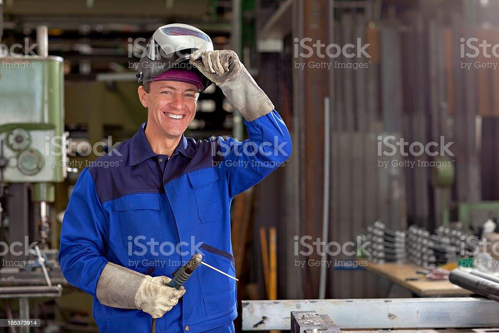 friendly welder stock photo