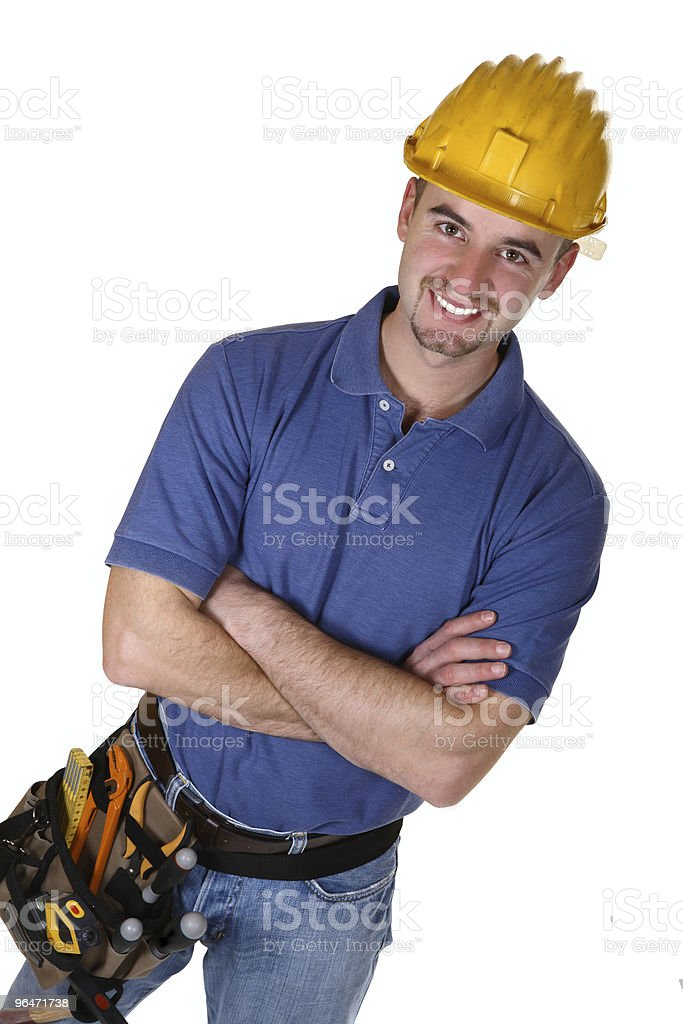friendly young caucasian manual worker royalty-free stock photo