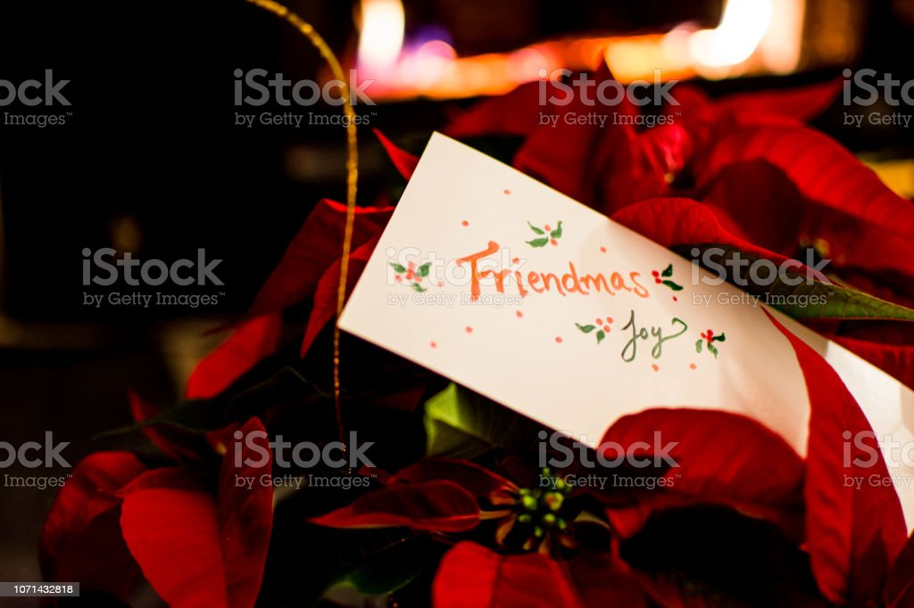 Friendmas seasons greetings holiday background for Christmas and December celebrations non religious gathering of friends stock photo