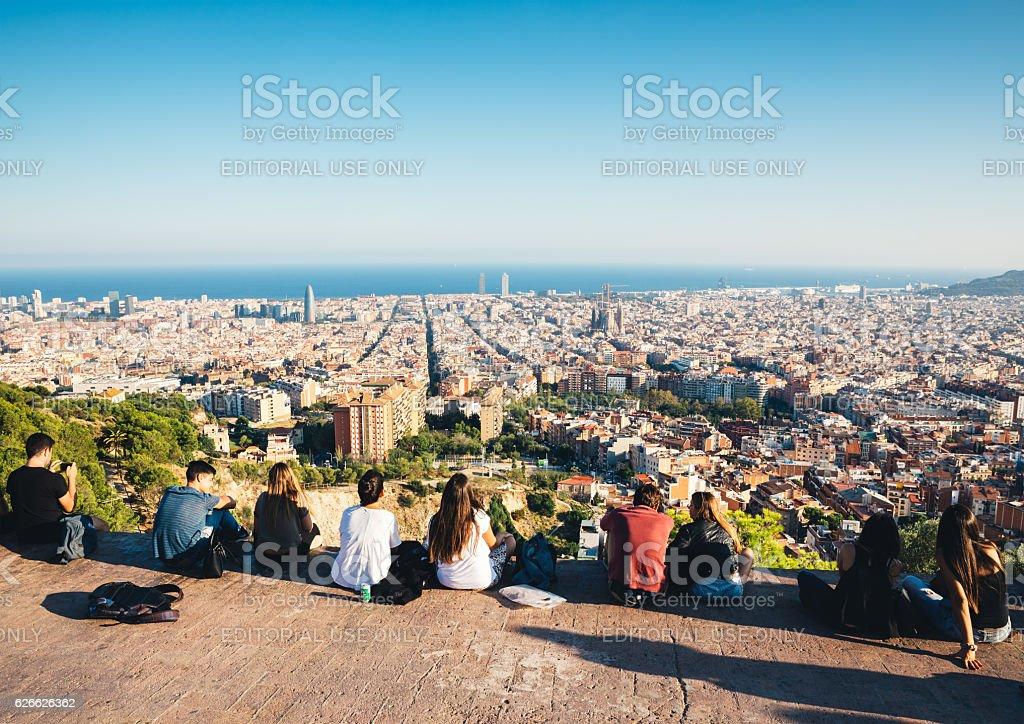 Friends Above Barcelona stock photo